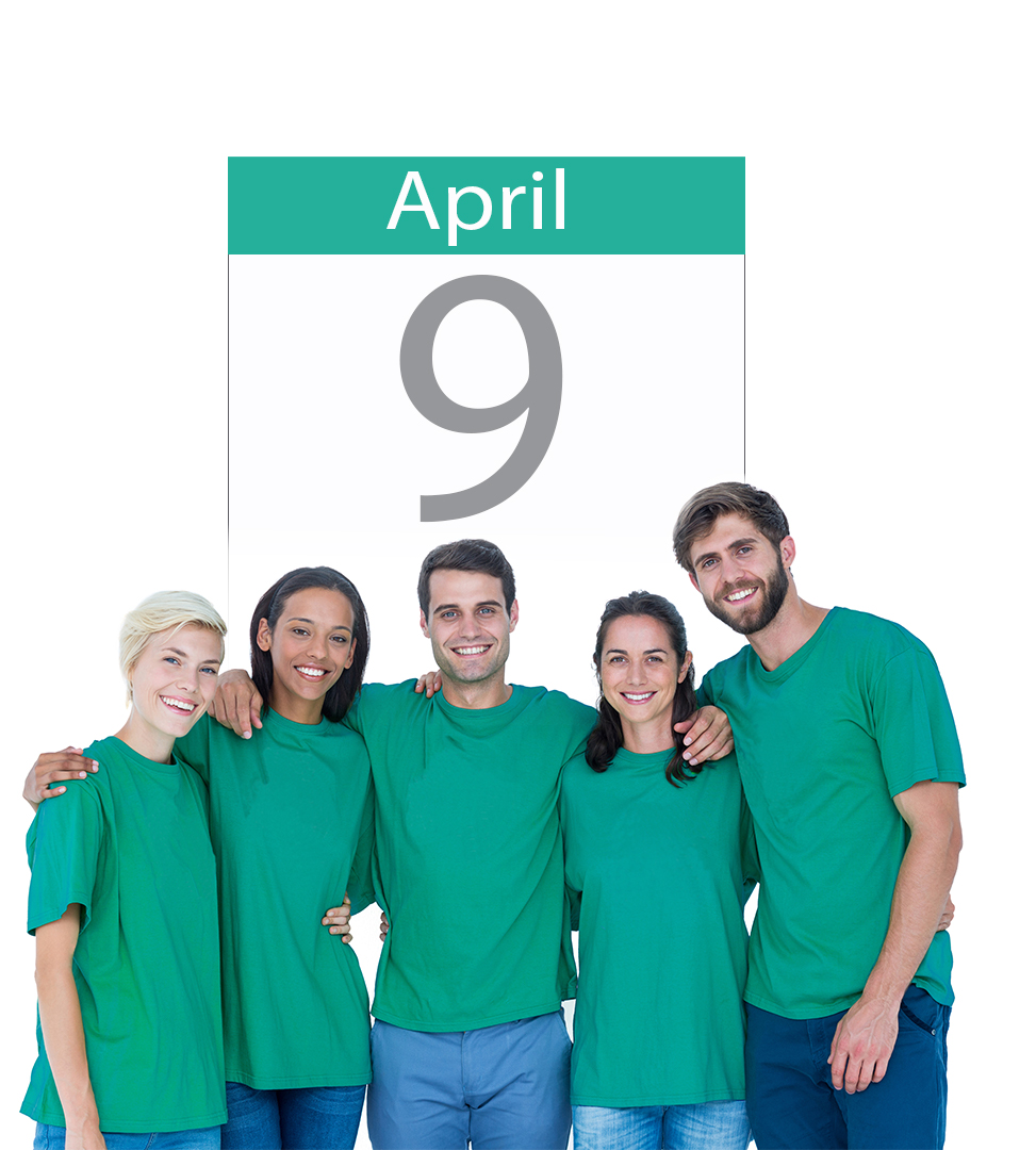 People in teal shirts for April 9